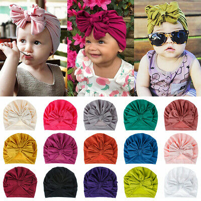 Fashion Newborn Baby Bowknot Beanie Toddler Kids Head Wrap Soft Cotton Caps New