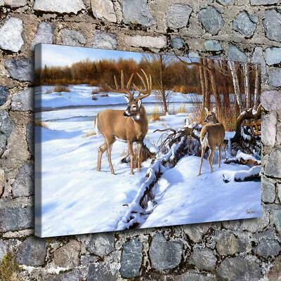 "12""x18"" Reindeer snow Poster Paints HD Canvas prints Home Decor Wall art picture"