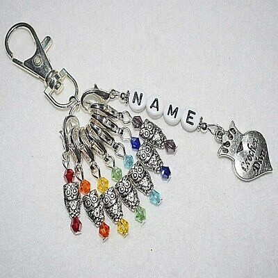 Personalised Name Knitting Crochet Diva Porcelain 6 Clip Stitch Markers Keyring