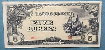 1942 Japanese Government Five Rupees Paper Note For Burma Occupation Ef+