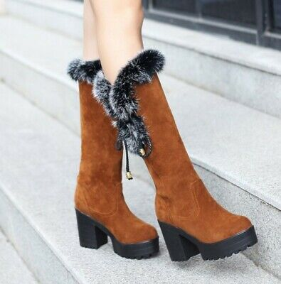 Winter Fleece Fur Lined Suede Fabric Women/'s Pull On Thicken Snow Mid Calf Boots