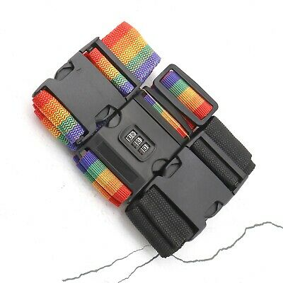 Adjustable Travel Luggage Baggage Belt with Password Lock Clip or Buckle Closure