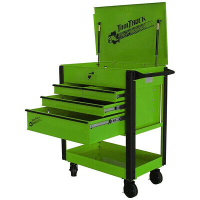 Tool Cart/Trolley. 4 Drawer Quick Assembly Green with Black Draw Pulls TT403GB