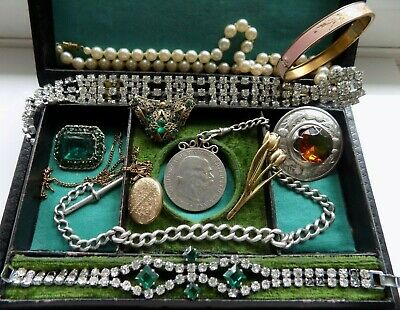 Job Lot Antique Victorian Edwardian Deco Jewellery Silver 9Ct Gold Job Lot