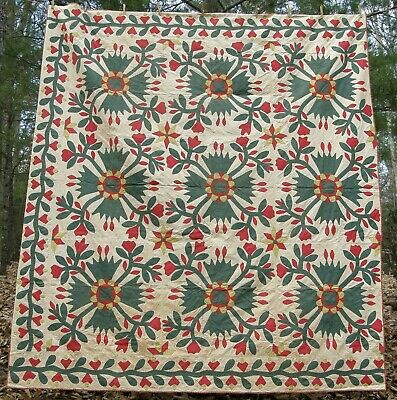 SPECTACULAR Red Yellow Green Whig Rose Applique Antique Quilt 84x97 Bucks Co, PA