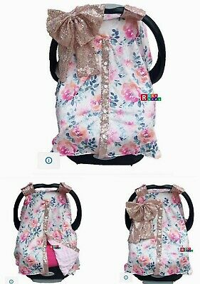 Baby Car seat Cover blanket floral print with rose gold bling-bling sparklingBow