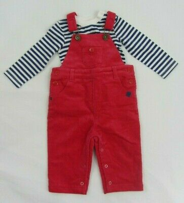 NEW BABY BODEN CORD PINAFORE TROUSERS DUNGAREES and top pink blue/white 3-6 m