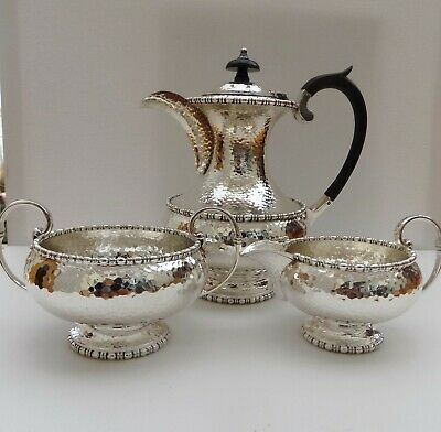 Walker & Hall Hammered Silver Plate Tea Coffee Service