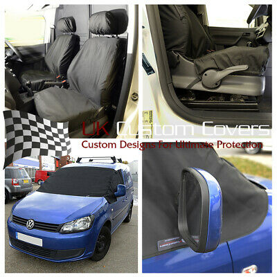 Vw Caddy 2017+ Tailored Waterproof Front Seat Covers & Screen Wrap Black 247 146