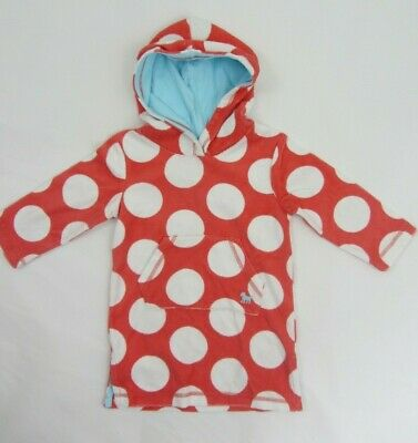 NEW  MINI BODEN towelling beach  dress  hooded towel age 12-18 months pink spots
