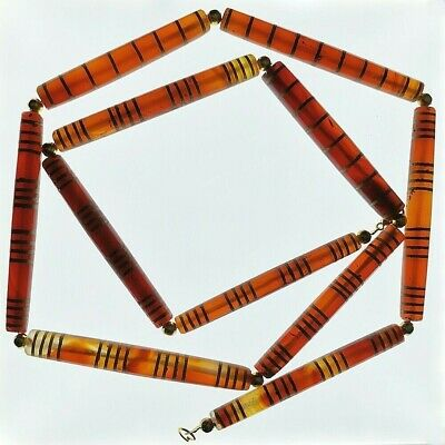 x11 Carnelian Agate Pyu Tube Old Natural 9-16 Striped Etched Beads 59-71 mm #215