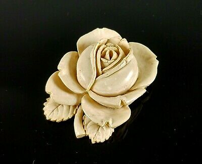 Antique Edwardian Art Deco Large Carved Rose Brooch Pin Celluloid High Relief