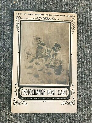 Vintage 1900 Hologram post card lenticular HCJ Deeks Auto old Postcard