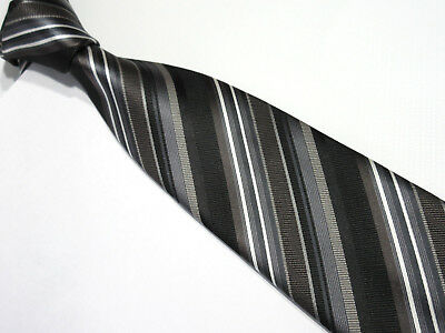 Taylor & Wright Padded Black Grey Striped 3.25 Inch Polyester Necktie