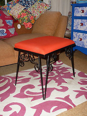 Retro 1970s Style Wrought Iron Footstool Padded Vintage Cool