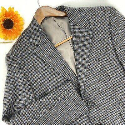 Chaps Men's Size 42 S 100% Wool Blazer Jacket Blue Gray Houndstooth Career