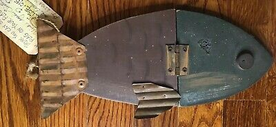 Primitive Folk Hinged Fish Sign For Wall Or Flagpole. Wood And Metal.