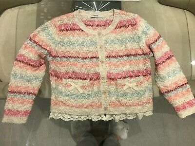 George Asda Girls Wooly Knitted Multi Colour Stripe Bow Cardigan  4-5 Years