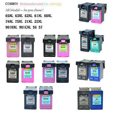 Ink Cartridge For HP 65XL 63XL 62XL 61XL 60XL 901XL 21XL 22XL 74XL 75XL lot