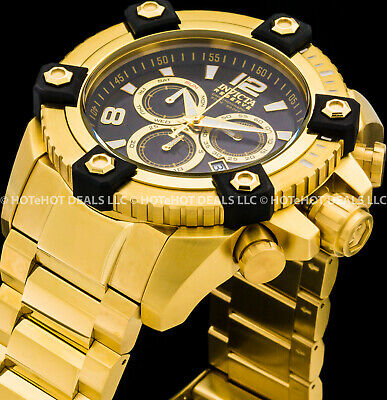 Invicta 56m Reserve Arsenal Octane Swiss Chronograph Exhibition Gold IP SS watch
