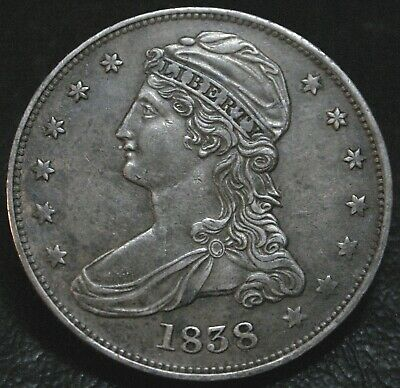 1838/8 Capped Bust Half Dollar GR-16 R.4 ~ AU ~ Rare Overdate In High Grade