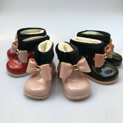 Baby Girls Rain Boots Bowknot Winter Fur Lined Ankle Boots Snow Boot Jelly shoes