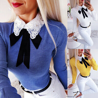 Womens Long Sleeve Collared Sweatshirt Blouse Ladies Bow Tie T Shirt Party Tops