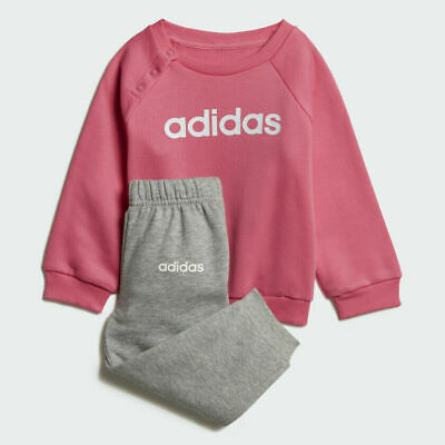 Girls Adidas Linear Fleece Tracksuit Infant Full Set Pink/Grey Jog Suit DV1287