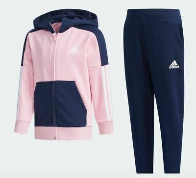 Adidas Girls Hooded Tracksuit Essential Pink/Navy Full Zip Jog Suit Kids DY9234