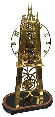 Large Antique Brass Skeleton Clock Single Chain Fusee On Ebonised Base