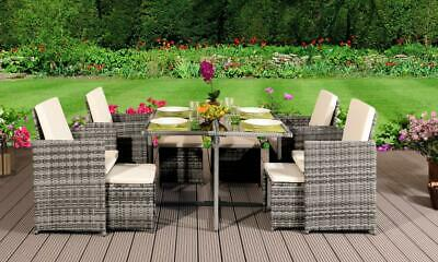Grey Rattan Outdoor Garden Patio Furniture 9pc Cube Set Table 4 Chairs 4 Stools
