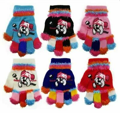 Kids Girls Boys Gloves Warm Winter Magic Stretch Childrens Puppy Glove Xmas Gift