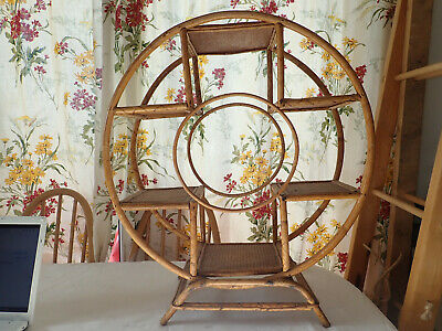 Vintage Round Bamboo Plant stand or Shelf