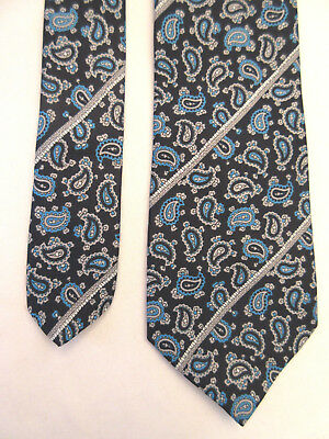 Marks & Spencer St Michael Blue Grey Paisley 3 Inch Polyester Neck Tie