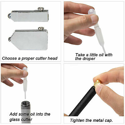 Glass Cutter Oil Lubricated Professional Tool Cut 2-8mm Mirror & Stained Glasses