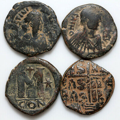 Lot Of 4 Byzantine Bronze Coins-Large Sizes Follis