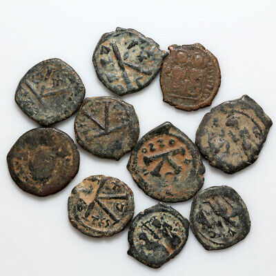 Lot Of 10 Uncertain Byzantine Bronze Coins-Ca 500-1000 Ad