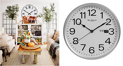 Widdop Round Wall Clock Chrome Effect & White Office Home Work 1 year warranty