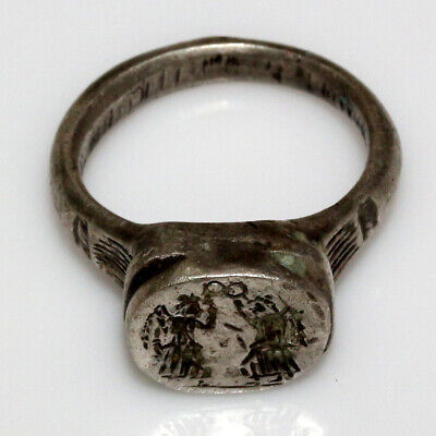 INTACT-Roman Siver Seal Ring Depicting Victories CA 200-400 AD