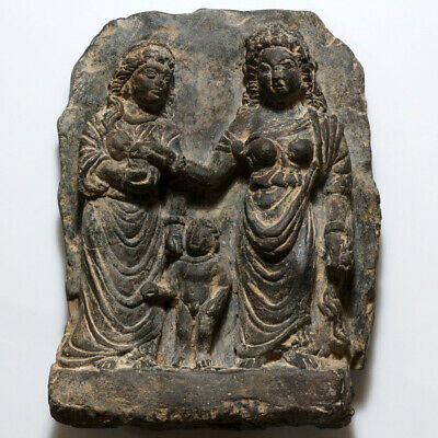 RARE-Kushan, Gandhara Black Stone Panel Carved Ornament CA 50 BC -200 AD-1737gr