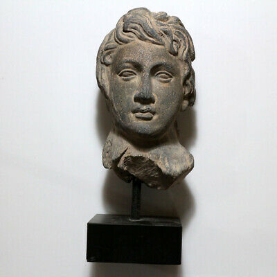 RARE-Kushan-Gandhara-Black Stone Male Head Carved Ornament CA 50 BC -200 AD-2584