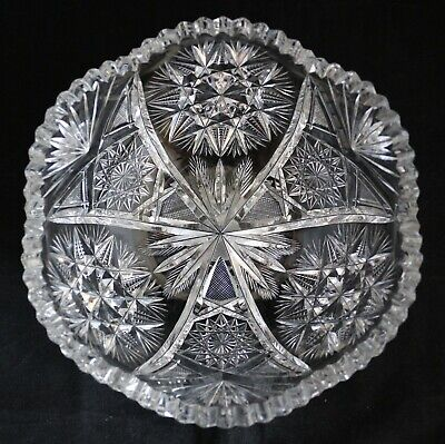 """Antique American Brilliant Cut Glass Crystal Abp Bowl With Stars 8 1/4"""""""
