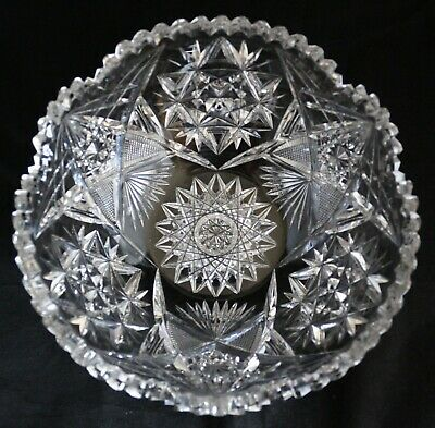 """ANTIQUE AMERICAN BRILLIANT CUT GLASS CRYSTAL ABP Bowl with stars 9 1/4"""" heavy"""