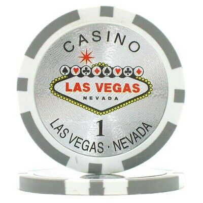 Lot of 100 Clay Composite 15 Gram Poker Chips Las Vegas Poker Chip 1 Gray