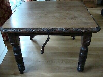 Antique Victorian Extending Dining Table With Winding Handle (Collection South G