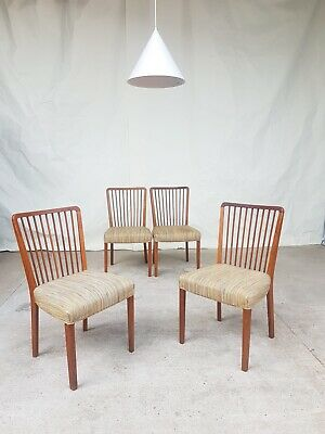 Vtg Mid Century 50s Danish Set 4 Solid Oak Dining Chairs Retro Scandinavian