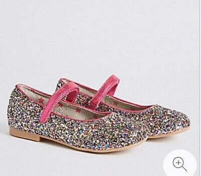 Marks & Spencers Girls Glitter Cross Bar Shoes UK 10 VGC worn twice