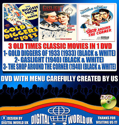 """3 Classic Movies Dvd, """"Gold Diggers Of 1933-Gaslight-The Shop Around The Corner"""""""