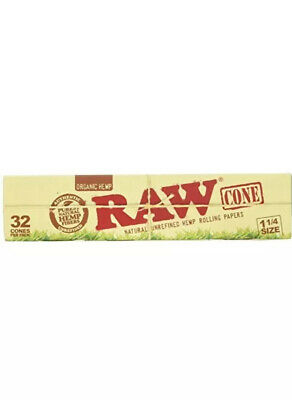RAW Organic Unrefined Pre Rolled Cone Vegan Cigarette Rolling 32 Pack 1 1/4 Size