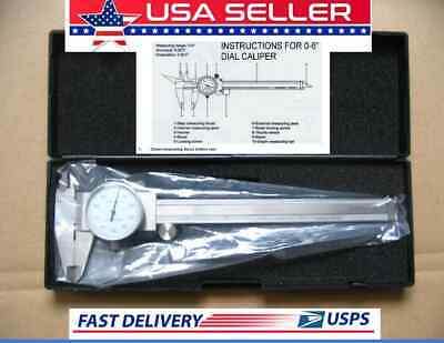 """FOR PROFESSIONAL USE .001"""" Shock Proof 6 INCH SAE STAINLESS STEEL DIAL CALIPER"""